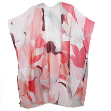 Imakokuu Kimono Jacket Lagenlook Art To Wear One Size Flowy Coral Abstract