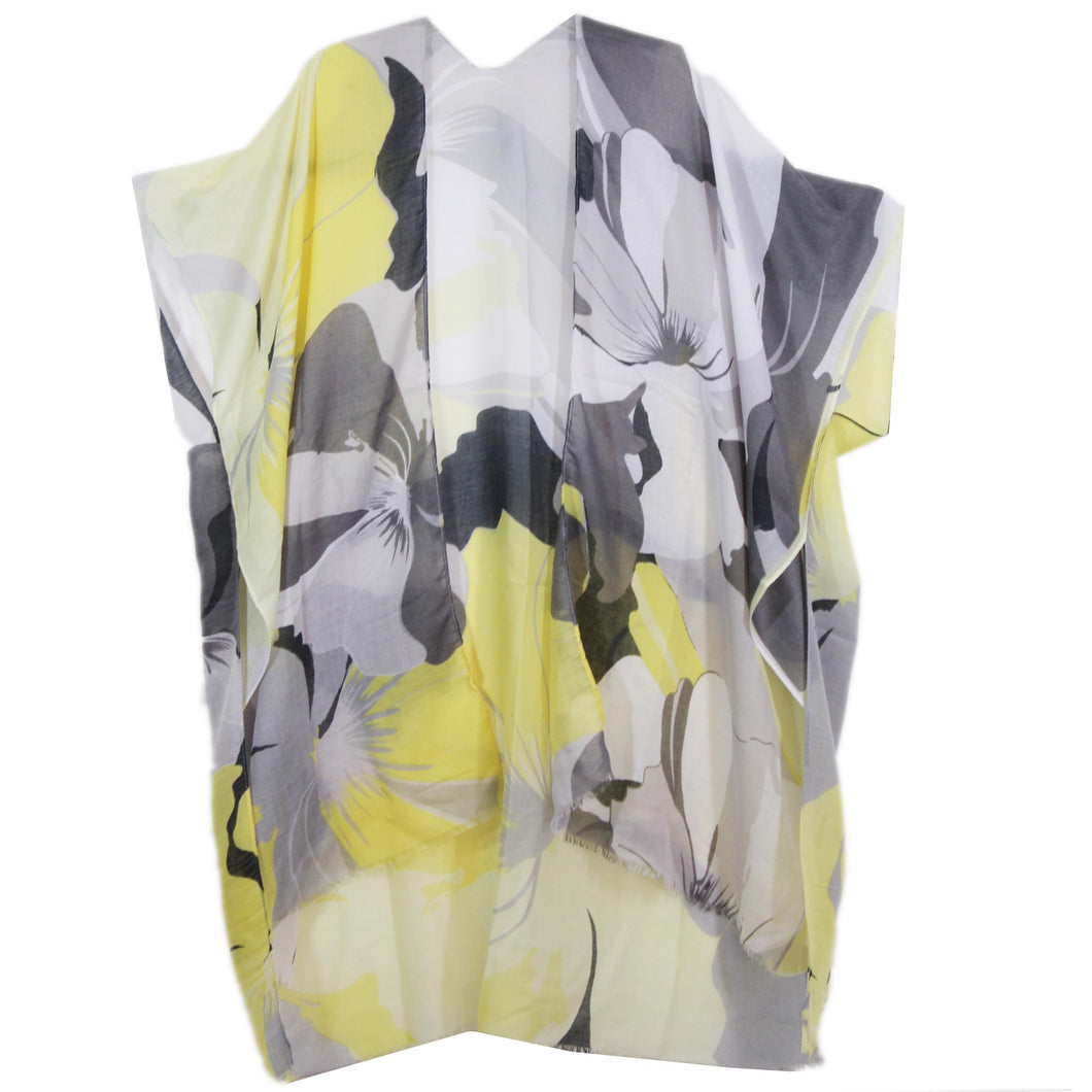 Imakokuu Kimono Jacket Lagenlook Art To Wear One Size Flowy Citrus Abstract