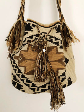 Vintage Hand Knitted Boho Handbag Handmade Backpack Shabby Brown