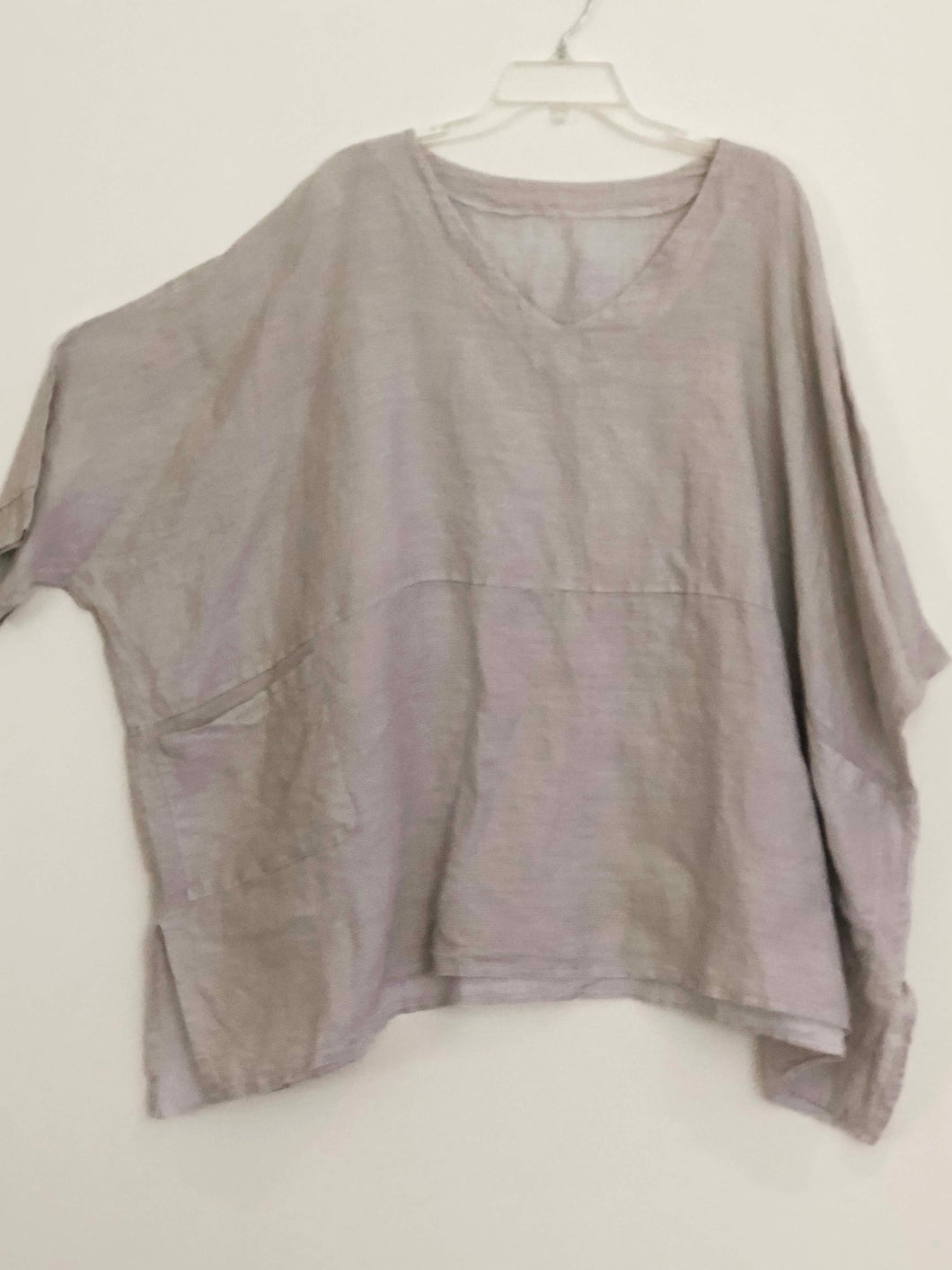 Imakokuu tunic lagenlook Gray artsy designer art to wear upscale Linen One Size Plus 1X 2X 3X Quirky