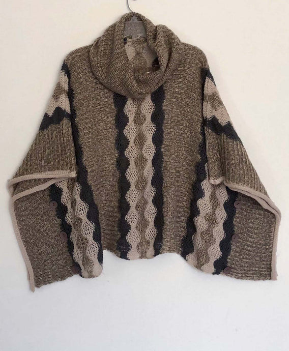 Artist Lagenlook poncho sweater boxy reuse 4 planet art to wear beige One Size