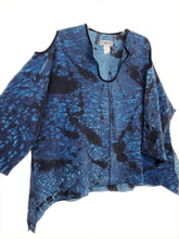 Paul Sisti Kimono Tunic Handpainted Silk Blue Lagenlook Art To Wear One Size