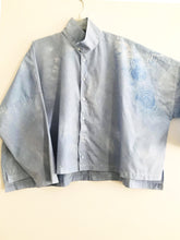 Imakokuu lagenlook art to wear Tunic Blue Artsy made of repurpose cloth One Size 1X 2X 3X