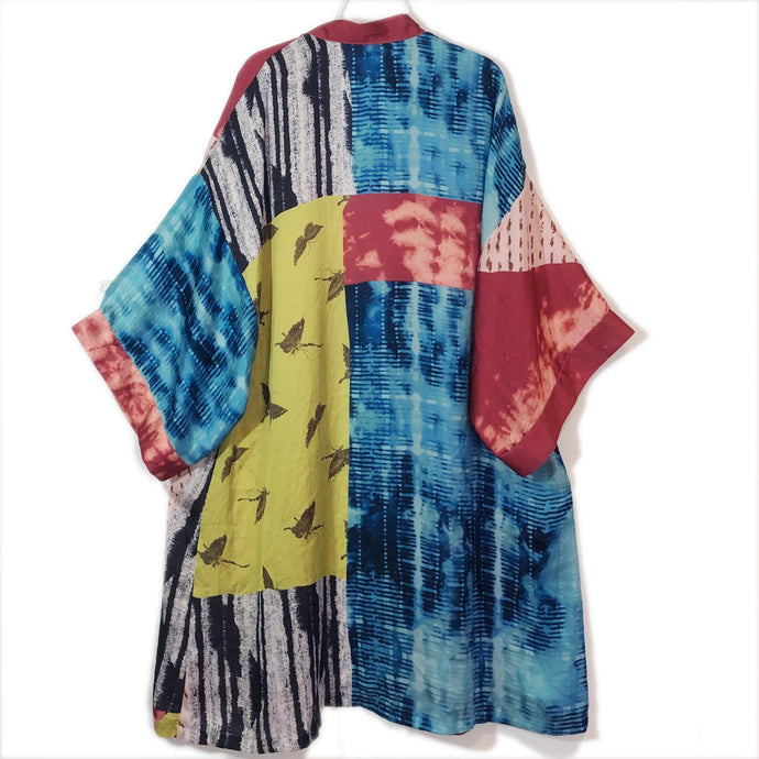 Vintage Kimono Jacket Hand Made Multicolor Lagenlook Art To Wear One Size