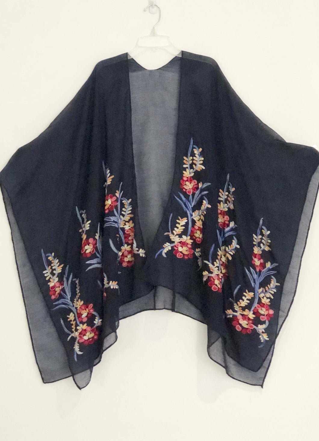 Lagenlook Cape Top Embroidered Victorian Art To Wear Blue One Size Plus Bohemian