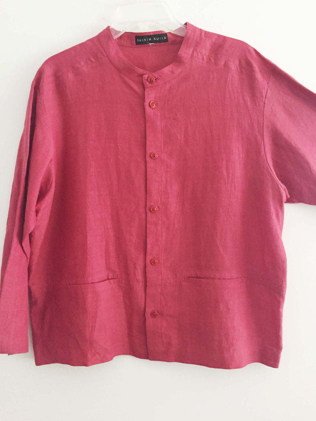 SHIRIN GUILD jacket lagenlook Ruby Red Linen Size M