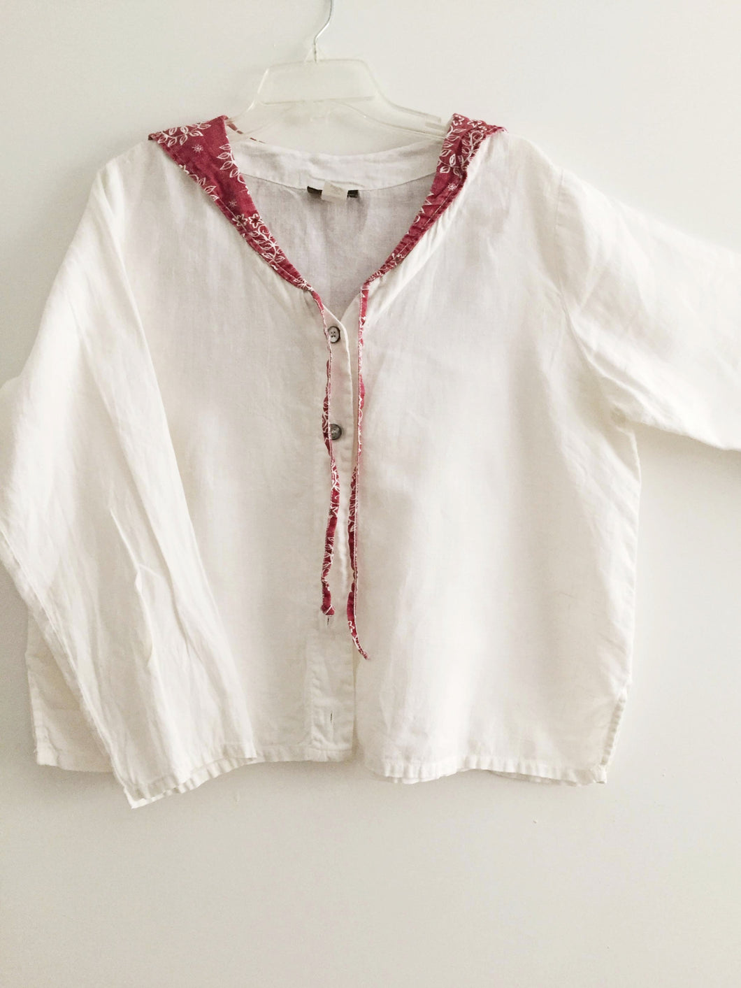 Liz & Jane jacket lagenlook white 100% Linen Layered M L
