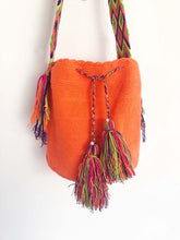 Vintage Hand Knitted Boho Handbag Handmade Hobo Boho Lagenlook Orange