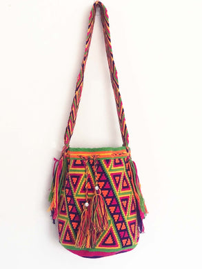 Vintage Hand Knitted Boho Handbag Handmade Hobo Boho Lagenlook Triangles
