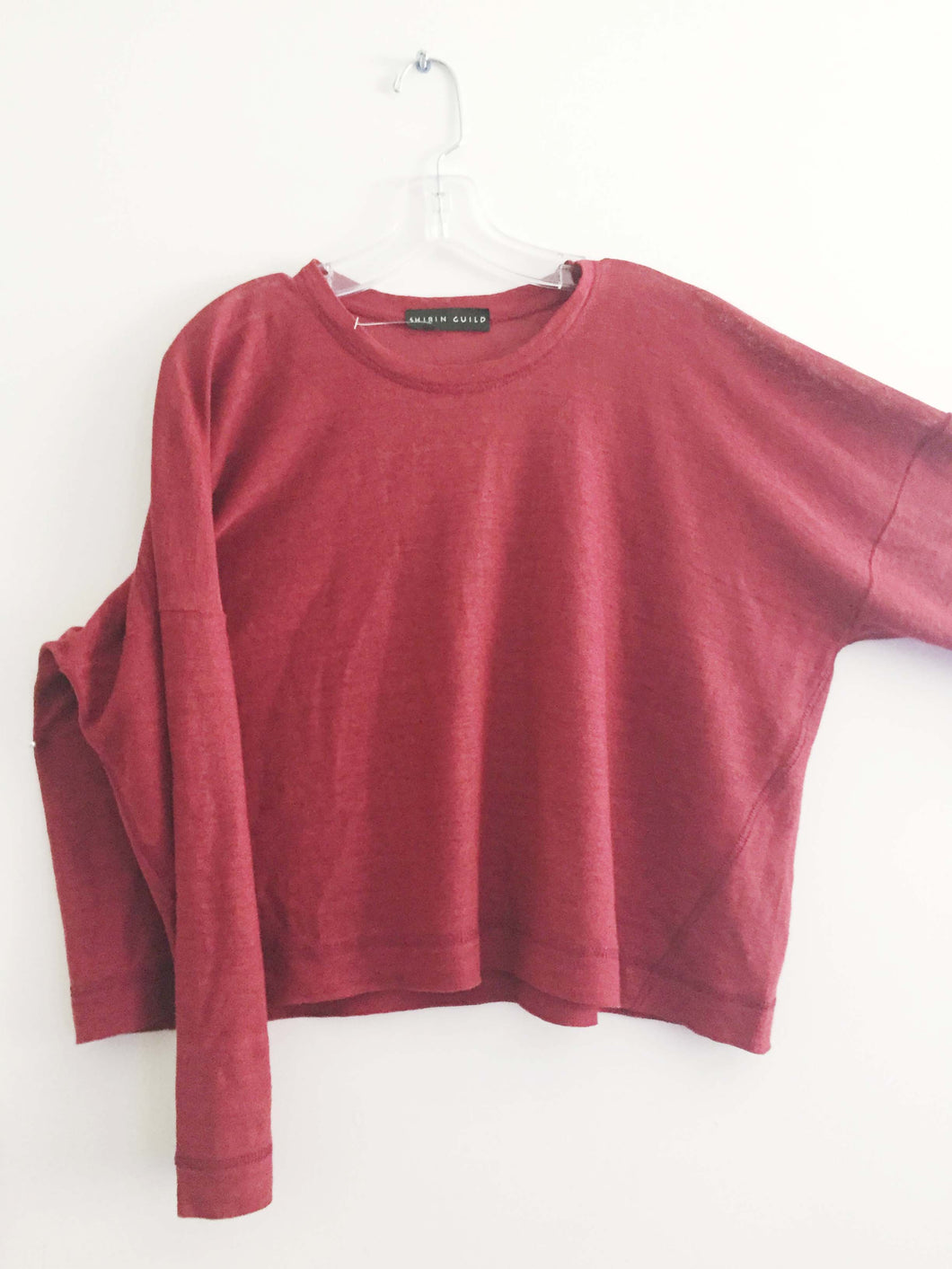 SHIRIN GUILD sweater lagenlook artsy ruby red linen upscale One Size