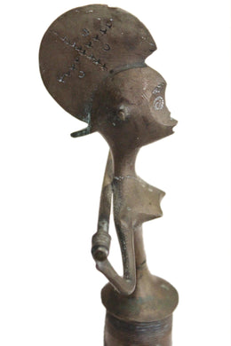Vintage African Woman Warrior Bronze Aged Home Decor Collectible Ashanti