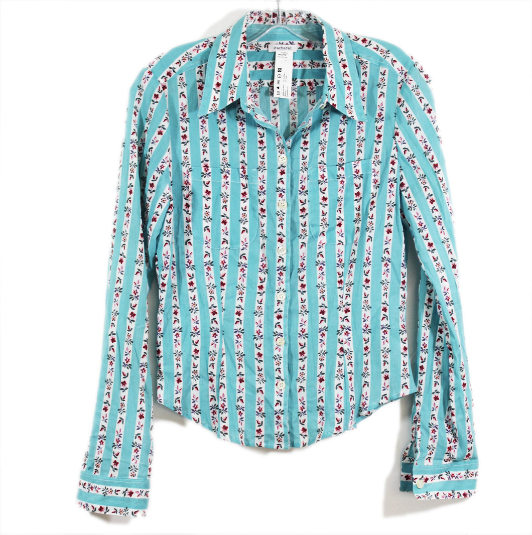 Cacharel blouse country Poland top blue upscae designer retro chic sz XS S