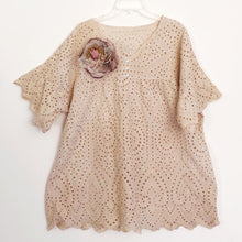 "Shabby by Lalia Moon ""Amelie"" Tunic One Size Linen Victorian Tea Stained One Size Lagenlook"