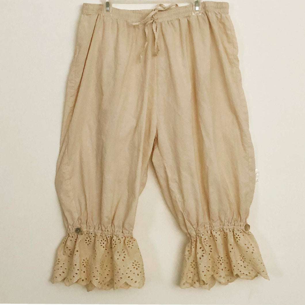 Shabby by Lalia Moon Bloomers Lagenlook Pants Victorian Cottage Tea Stained Plus 1X 2X 3X Antique