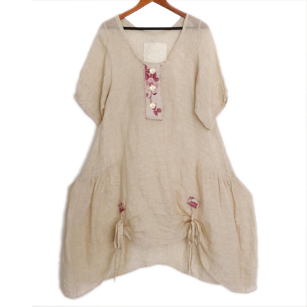 Lalia Moon Tunic Natural Linen Victorian Linen Art To Wear