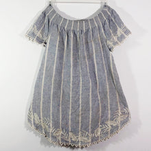 Lalia Moon tunic gypsy handmade stiped aged tea stained XS S M