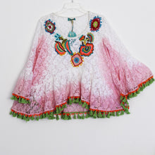 Antica Sartoria Tunic Gypsy Hippie Top White Embroidered Country S to M