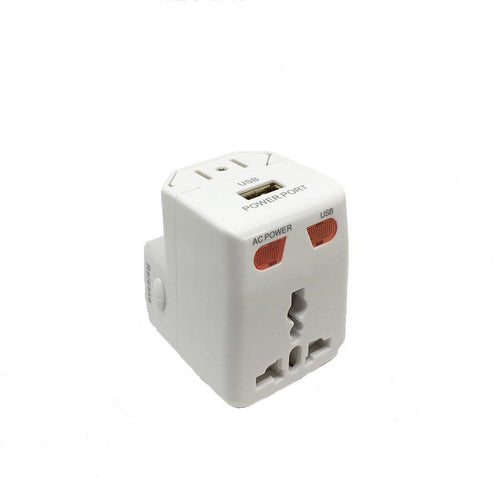 3 in 1 Universal Adapter plug with USB port - Travel Store