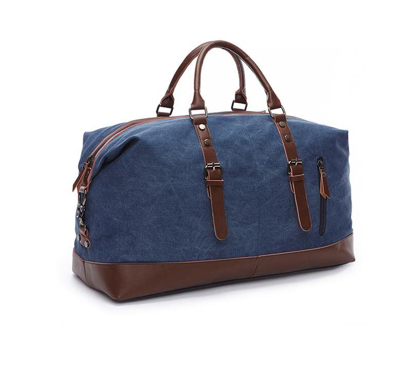 Blue canvas weekend bag