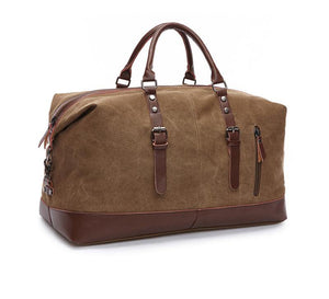 Brown canvas duffle bag