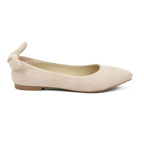 Suede Pointy Toe Flats- Nude