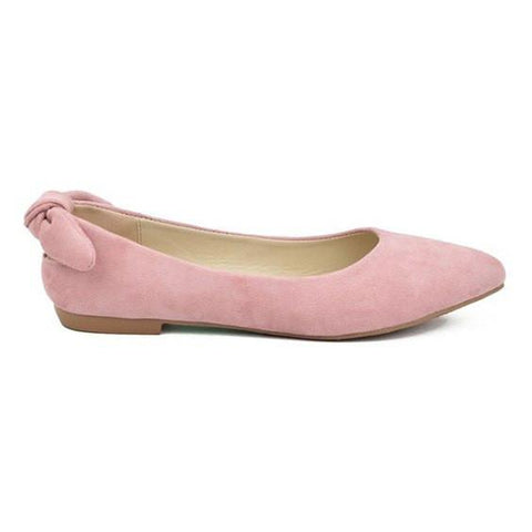 Suede Pointy Toe Flats- Pink