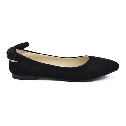 Suede Pointy Toe Flats- Black