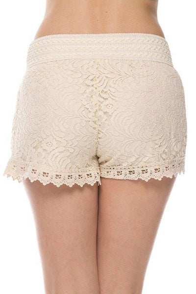Lace Up Woven Shorts- Nude - newdwear