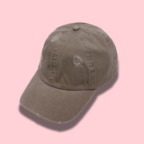 Distressed Baseball Cap- Light Brown