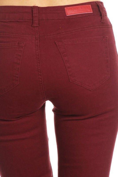 Ripped Skinny Jeans - Red - newdwear