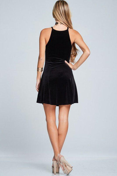 Sleeveless Velvet Dress- Black - newdwear