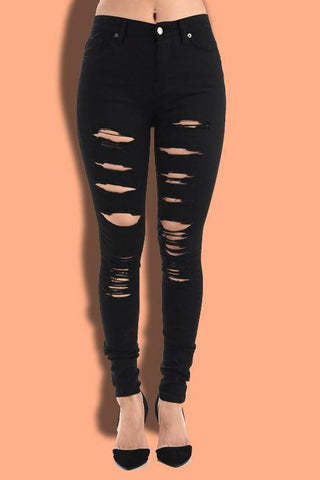 Destroyed High Waisted Skinny Pants - Black