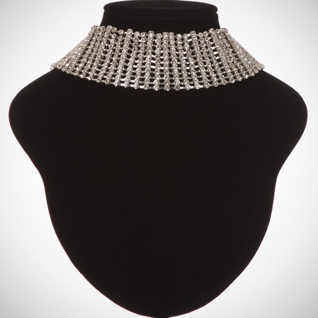 Wide Rhinestone Layered Choker