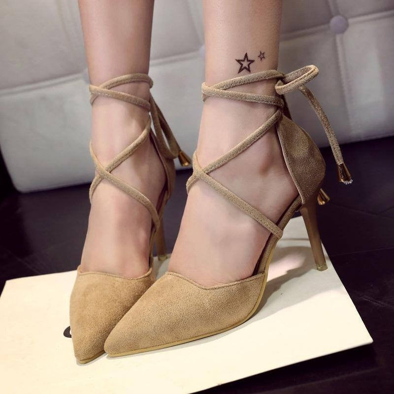 Pointy Suede Lace-Up Heels- Nude - newdwear