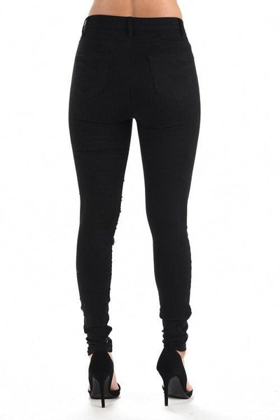 Destroyed High Waisted Skinny Pants - Black - newdwear