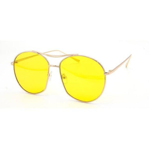 Metal Aviator Sunglasses- Yellow - newdwear