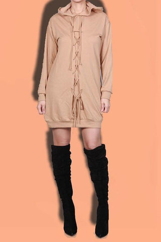 Solid Lace Up Hooded Dress- Nude