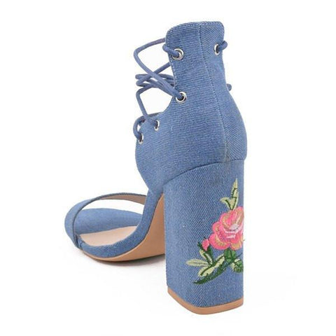 Embroidered Denim Chunky Sandals