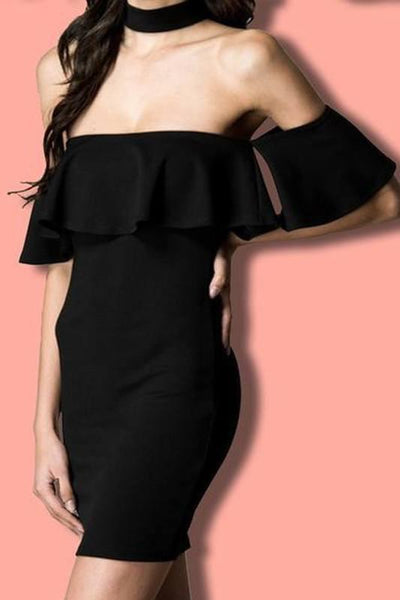 Ruffle Off The Shoulder Choker Dress - newdwear