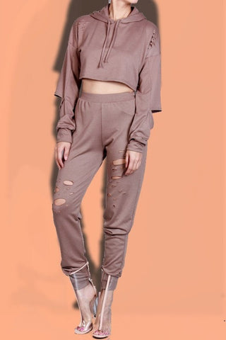 Distressed Hoodie Two-Piece Set- Mocha