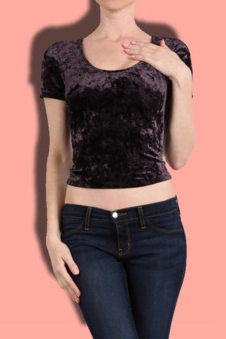 Crushed Velvet Cropped Top