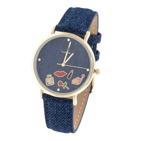 Cosmetic Denim Watch- Dark Blue - newdwear