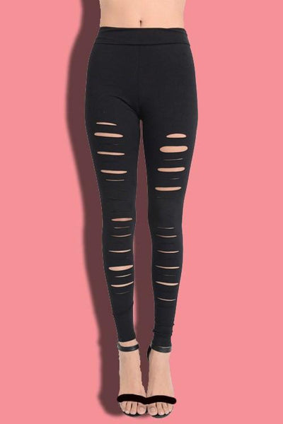Distressed Laser Cut Leggings - newdwear