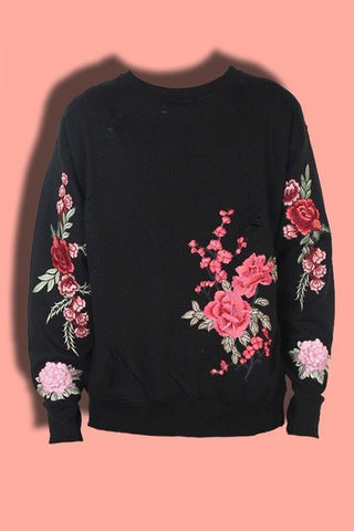 3D Embroidered Flower Sweater
