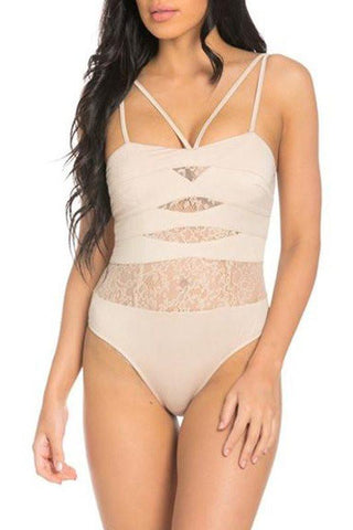 Lace Cutout Bodysuit- Nude