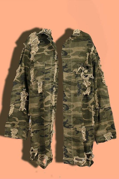 Distressed Camouflage Jacket - newdwear