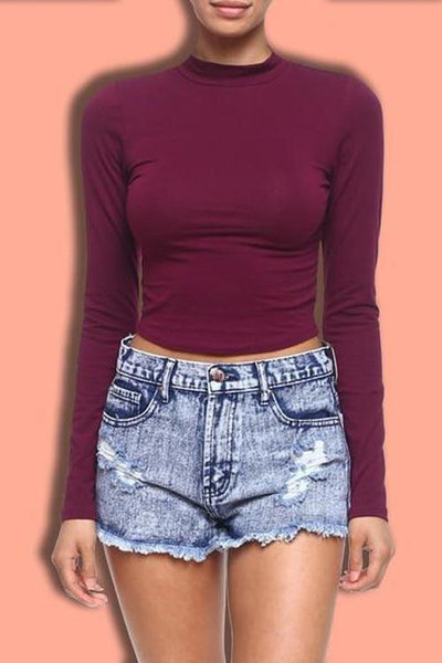 Mock Neck Cropped Top- Merlot - newdwear