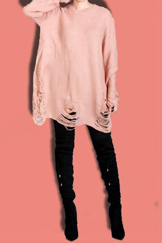 Distressed Sweater Dress- Pink