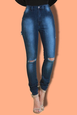 Back Cut Out Skinny Jeans - newdwear