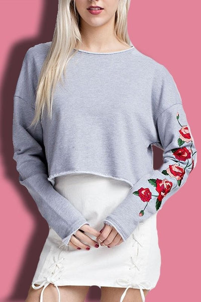 Distressed Embroidered Top - newdwear